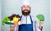 Man Happy Presenting Excellent Vegetables. Organic Food. Organic Culinary Recipe. Master Chef Use On poster