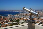 A mounted coin operated monoscope - view of Marseille