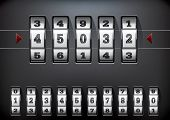foto of combination lock  - vector illustration of a combination lock set with all ten numbers - JPG
