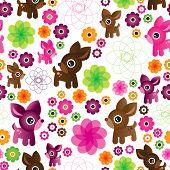 Ciervos flor transparente patrón de fondo de la ilustración en vector