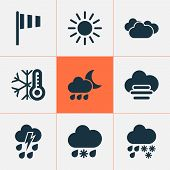 Climate Icons Set With Rainy, Cold, Misty And Cloudy Thunderstorm Elements. Isolated Vector Illustra poster