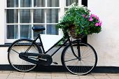 Photo of an old bicycle with a basket full of flowers and a blank advertising board in the frame.