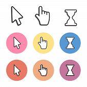 Pixel Cursors Icons. Mouse Computer Cursor. Hand Arrow Web Cursor Vector poster