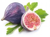 Ripe fig fruits with fig leaves isolated on the white background. poster