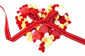 Heart made of Valentines Day candy