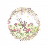 conejito de Pascua con ramas de sauce coño