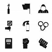 Political Revolt Icon Set. Simple Set Of 9 Political Revolt Icons For Web Isolated On White Backgrou poster