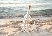 Pair Of White Starfish With Happy Birthday Message In A Bottle On Beach Sand poster