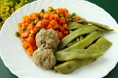 minced meat balls with carrot,green pea and legumines for dinner