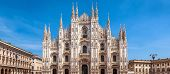 Milan Cathedral Or Duomo Di Milano, Italy. It Is A Top Tourist Attraction Of Milan. Panoramic View O poster