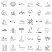 Aqua Icons Set. Outline Style Of 36 Aqua Icons For Web Isolated On White Background poster