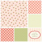 Set Of Cute Seamless Shabby Chic Patterns With Roses, Polka Dot And Plaid poster