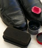Painted Black Leather Shoes, Shoe Polishing Sponge, Shoes Polish,a Man Is Painting Shoes, Black Shoe poster