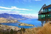 Cityscape of queenstown with lake Wakatipu from top, new zealand, south island