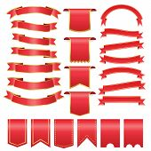 Set Of Red Arch  Banner Icon,red  Baner On White Background, Red Web Ribbons,red Realistic Ribbon Ba poster