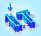 3d Neon Effect Isometric Letters It. Blue Gradient Background. Creative Script. Little People Charac poster