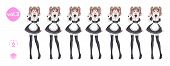 Anime Manga Girl, Cartoon Character In Japanese Style. Costume Of Maid Cafe. Set Of Emotions. Sprite poster