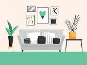 Interior With Sofa. Living Room With Cofortable Furniture Detailed Vector Composition. Comfortable A poster