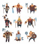 Viking Cartoon. Mythology Of Medieval Warrior Norse People Vector Characters. Illustration Of Warrio poster