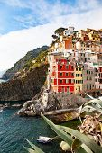 view of the colorful houses along the coastline of Cinque Terre area in Riomaggiore, Italy poster