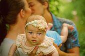 Mutual Understanding Between Parents In Family. Family Love Of Newborn. Parents Love Their Newborn C poster