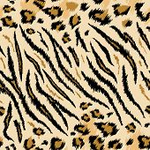 Tiger Leopard Texture Seamless Animal Pattern. Striped Fabric Background Wild Animals Skin Fur. Fash poster