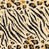 Tiger Leopard Texture Seamless Animal Pattern. Striped Fabric Background Wild Animals Skin Fur. Fash poster