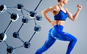 Sporty Young Woman Runing And Jumping Near Glass Molecules. Metabolism Concept. poster