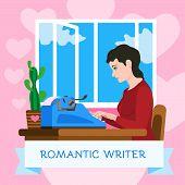 Romantic Writer Typewriter Concept Background. Flat Illustration Of Romantic Writer Typewriter Vecto poster
