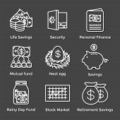Retirement Account & Savings Icon Set - Mutual Fund, Roth Ira, Etc poster