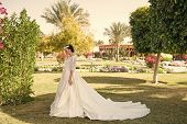 Wife In Perfect Wedding Dress. Wedding Fashion For Pretty Wife. Cute Wife Outdoor. Wife Woman On Bri poster