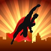 Superhero Over City. Red Cape Super Man Flying On Cityscape Background Comic Style Vector Illustrati poster