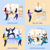 Office Life Flat Vector Illustrations Collection. Deadline, Job Stress, Relax Time Concepts With Let poster