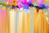 Abstract Colorful Oil, Acrylic Painting Of Spring Flower. Hand Painted Brush Stroke On Canvas. Illus poster
