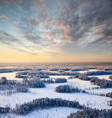 Top View Of Winter Forest At Frosty Evening