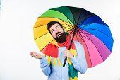 Seasonal Weather Forecast. Man Bearded Hipster Hold Colorful Umbrella. It Seems To Be Raining. Rainy poster