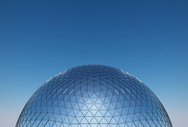 stock photo of geodesic  - geodesic dome with a reflective glass facade - JPG