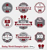stock photo of knockout  - Collection of vintage style boxing world champion labels and icons - JPG
