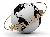 Gold Webinar And Gold Ring Diagonally, Abstraction Of The Inscription Around The Earth