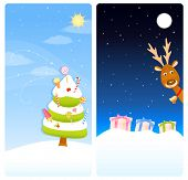 vertical banners with Christmas theme - a sweet candy tree, cute reindeer and colorful presents