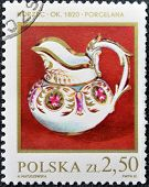 POLAND - CIRCA 1981: stamp printed in Poland shows 1820 porcelain milk jug circa 1981