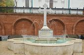 Fountain With An Orthodox Cross In Svyatogorsk Lavra.