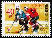 Postage stamp Poland 1968 Ice Hockey, Olympic sports, Grenoble 6