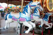 Closeup Of Carousel Horses At County Fair