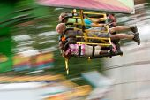 Motion Blur Of People On Speedy Carnival Ride