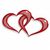 stock photo of soulmate  - illustration of two entwined hearts on white background - JPG
