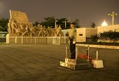 Mao Tse Tung Statue Tiananmen Square Beijing China Night Policem