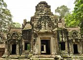 An Old Buddhist Temple At The Angkor Thom Complex In Cambodia