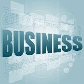 Negócio de palavras na tela Digital, conceito do negócio
