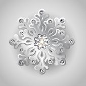Holiday Christmas Background With Silver Jewelry Snowflake